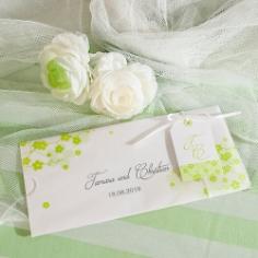 """Hochzeitseinladung """"Tamara"""" weiß-grün"""