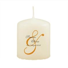 Gastgeschenk-Kerze zur Hochzeit in Elfenbein mit &-Zeichen
