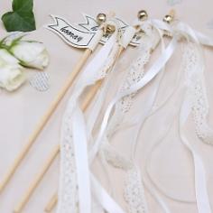 Glücksstäbe Wedding Wands Hochzeit, creme, 10 St.