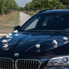 """Autoschmuck Hochzeit """"Rosen"""", 10 St., weiß"""