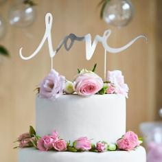 Cake Topper Love Silber