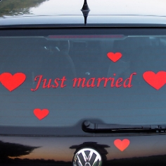 "Autoaufkleber ""Just married"", gerade, rot"