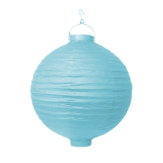 LED Lampion 30 cm hellblau