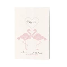 "Menükarte ""Tianna"" mit rosanen Flamingos"