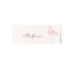 """Tischkarte """"Tianna"""" mit Flamingo im Flockdruck"""