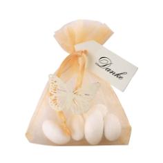 Gastgeschenk Hochzeit Daphne in Apricot mit Hochzeitsmandeln