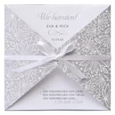 """Einladungskarte Hochzeit """"Carmen"""" Silber mit Schleife"""