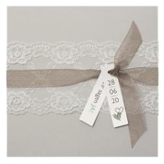 """Einladungskarte Hochzeit """"Sina"""" mit Spitze"""