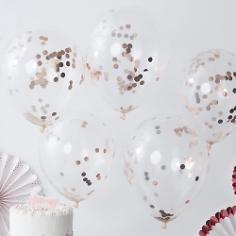 Ballons mit Konfetti, roségold, 5 St.