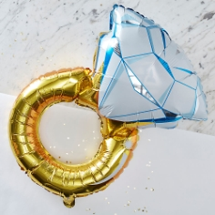 Folienballon Verlobungsring, blau