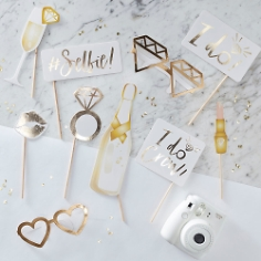 "Photo Booth Set JGA ""I do"", gold"