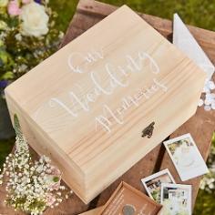Erinnerungsbox Hochzeit aus Holz, 13,5 x 28 x 20,5 cm