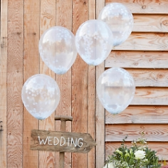 Ballons mit Konfetti in Weiß