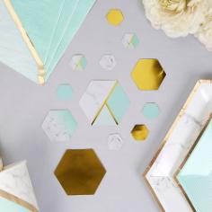 Tischkonfetti Marmor Geometrix mint dekoriert