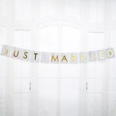 Autogirlande Türdeko Marmor Just Married, gold, 1 m, Autodeko Hochzeit