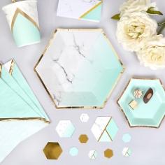 Partyteller Marmor Geometrix Mint