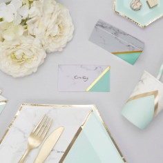 Tischkarten Marmor Geometrix Mint
