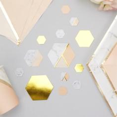 Tischkonfetti Marmor Geometric, apricot, ca. 100 St.