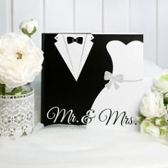 """Gästebuch Hochzeit """"Black & White"""", Mr & Mrs, mit Brautpaar, quadratisch"""