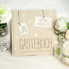"""Gästebuch """"JA!"""" in Kraftpapier-Look zur Hochzeit"""