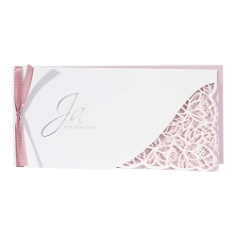 Hochzeitseinladung Avaline, weiß, rosa