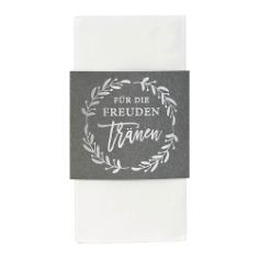 Breiter Taschentuchhalter, grau, weiß, mit Taschentüchern