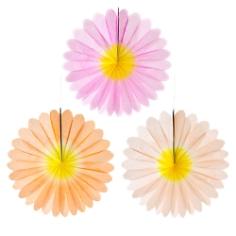 Deko Fächer Blüten, apricot, creme, rosa