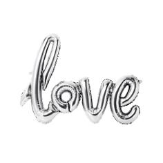 Folienballon Schriftzug Love, silber, 75 x 55 cm