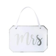 Stuhlschild Mrs. Script, weiß, silber