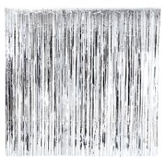 Fransen Vorhang, silber, 2 x 2 m