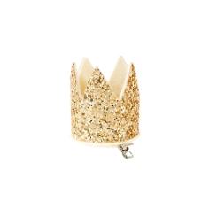 Party Krone mit Clip, Gold Glitter