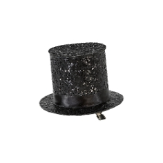 Party Hut mit Clip, Schwarz Glitter