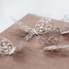 Papierdeko Schmetterling, weiß, perlmutt, 4 x 6,5 cm