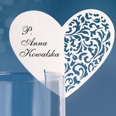 Tischkarten Ornament Herz, weiß