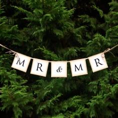 Girlande Mr und Mr mit Schleifen