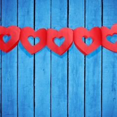 Seidenpapier Girlande Herzen, rot