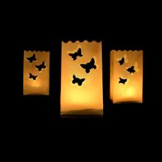 Windlicht Schmetterlinge, weiß