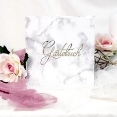 Gästebuch Hochzeit Marmor Design, Prägung in Gold, modern, quadratisch, für Kommunion, Taufe