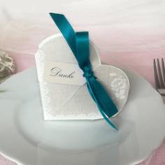 """Gastgeschenk """"Hestia"""", grau, petrol, Vintage, Hochzeit Taufe, Kommunion"""