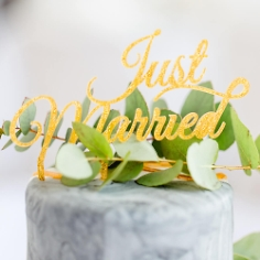 "Cake Topper ""Just Married"", gold"