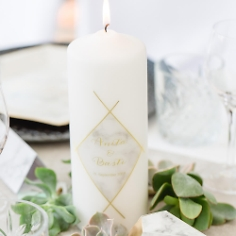 "Hochzeitskerze ""Marmor"", personalisiert, geometrisches Muster in Gold Optik"
