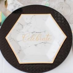 Partyteller Marmor Geometric, gold, 27 cm, 8 St.