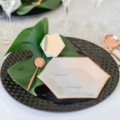 Partyteller Marmor Geometric, apricot, 20 cm, 8 St.