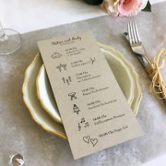 Programmheft für die Hochzeit, Kraftpapier