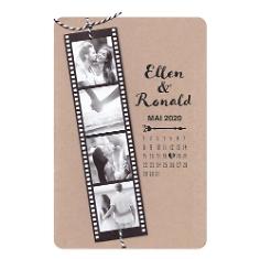 """Hochzeitseinladung """"Celina"""" aus Kraftpapier mit individuellen Fotos"""