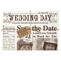 """Hochzeitseinladung """"Newspaper"""" im Vintage-Look"""