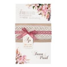"""Hochzeitseinladung """"Marie"""" mit einem Aquarell von rosa Blumen mit Spitze"""