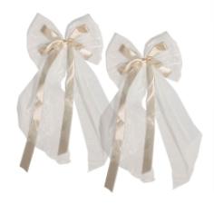 20 Autoschleifen Hochzeit groß, Antennenschleifen Weiß Creme
