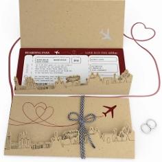 Hochzeitseinladung Flugticket Design