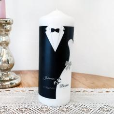 """Hochzeitskerze """"Black & White"""", personalisiert schwarz weiß"""
